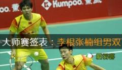 2013中国羽毛球大师赛签表:李根与张楠组男双