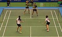 张艺娜/金昭映VS周凯华/潘乐恩 2014日本公开赛 女双1/8决赛视频