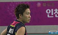 桃田贤斗VS李东根 2014亚运会 男团男单1/4决赛视频
