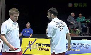 伊萬諾夫/索松諾夫(俄羅斯)VSM·埃利斯/蘭格瑞奇(英格蘭) 2015歐洲團體錦標賽 男雙半決賽視頻