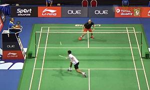 周天成VS埃文斯 2015新加坡公开赛 男单1/16决赛一分6合视频