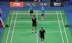 索伦森/安德斯VS伊万诺夫/索松诺夫 2015新加坡公开赛 男双1/16决赛一分6合视频