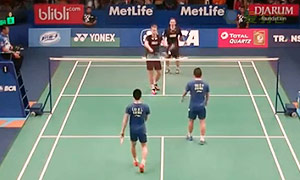 彼德森/科丁VS刘小龙/邱子瀚 2015印尼公开赛 男双1/16决赛视频