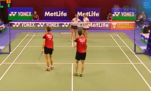 張藝娜/李紹希VS皮克/穆斯肯斯 2015香港公開賽 女雙1/8決賽視頻