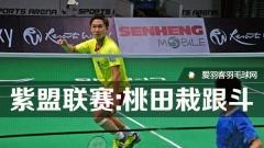 紫盟联赛:桃田贤斗栽跟斗,李龙大获胜