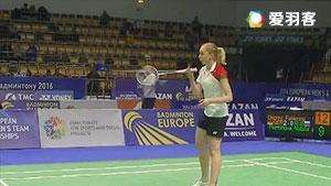 德普莱兹VS佩米诺娃 2016欧洲团体锦标赛 女单1/4决赛视频