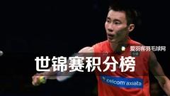 世锦赛积分榜:李宗伟榜首,林丹升至第18