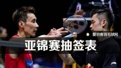 亚锦赛抽签表丨林李同区,张楠/傅海峰重组出山