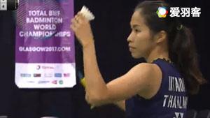 因达农VS叶瑞岑 2017羽毛球世锦赛 女单1/16决赛视频