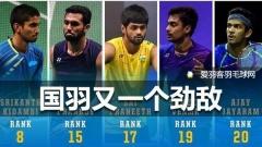 5位印度男单选手世界排名前20,国羽又一劲敌诞生!
