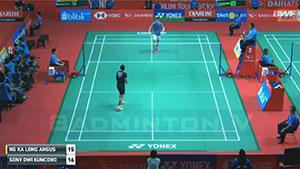 索尼VS伍家朗 2018印尼大师赛 男单1/16决赛视频