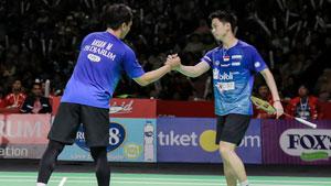 苏卡穆约/阿山VS法加尔/伊万诺夫 2019印尼羽毛球超级联赛 男团决赛视频
