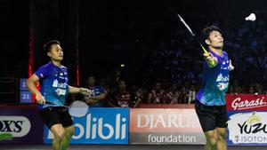 金沙朗/李龙大VS阿克巴/安格利万 2019印尼羽毛球超级联赛 男团决赛视频