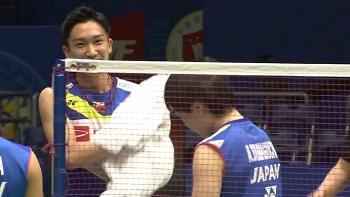 日本隊賽前訓練,桃田賢斗1打3