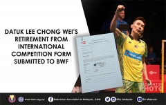 世界羽联签发文件,李宗伟正式从国际赛场退役
