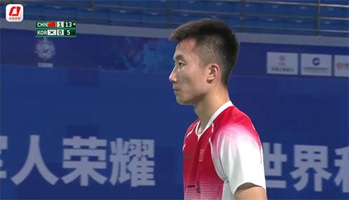 军运会男团决赛第二男单:陆光祖2-0高庆波