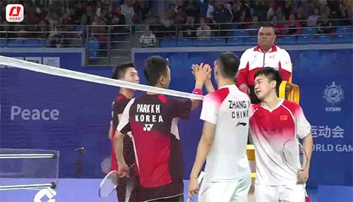 军运会男团决赛第一男双:张楠/谭强2-1金惠太/朴坤勋