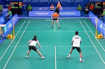乔丹/梅拉蒂VS阿尔文.莫拉达/Alyssa 2019东南亚运动会 混双1/4决赛视频
