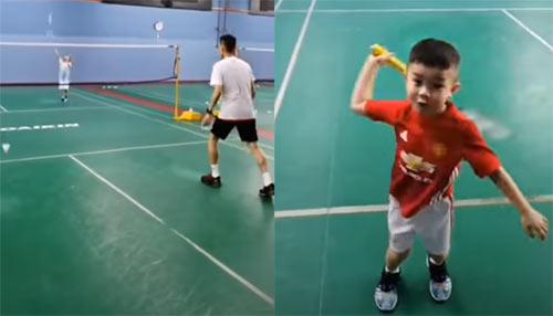 少见的私录视频!李宗伟在球馆手把手教孩子打球