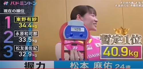 日本女队握力大赛,大堀菜被秒杀!最暴力的居然是松本麻佑!