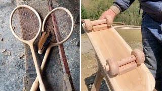 厉害了!山村牛人用木头制造纯手工羽毛球拍!