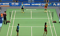 于洋/王晓理VS高爱罗/柳海媛 2013中国大师赛 女双1/16决赛视频