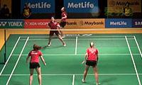 周凯华/潘乐恩VS加布里/L.史密斯 2014马来公开赛 女双1/16决赛视频