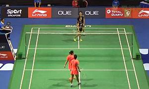 黄雅琼/马晋VS安迪妮/玛撒 2015新加坡公开赛 女双1/16决赛视频