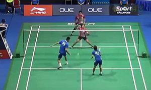 徐晨/马晋VS法蒂拉赫/安格莱尼 2015新加坡公开赛 混双1/4决赛视频