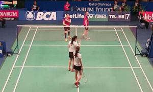 张艺娜/郑景银VS潘乐恩/谢影雪 2015印尼公开赛 女双1/16决赛视频