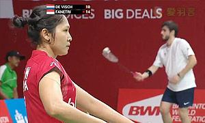 法内特里VS索拉亚 2015羽毛球世锦赛 女单资格赛视频