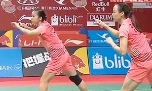 田卿/赵芸蕾VS宗空潘/拉温达 2015羽毛球世锦赛 女双1/16决赛视频