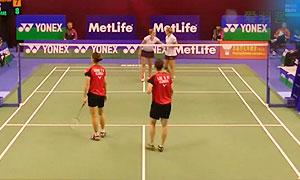 张艺娜/李绍希VS皮克/穆斯肯斯 2015香港公开赛 女双1/8决赛视频