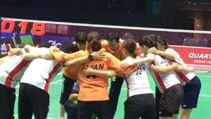 尤伯杯首日比赛开赛,朴柱奉为日本女队加油!