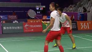 波莉/拉哈尤VS郑雨/汤金华 2018亚运会 女双1/4决赛视频