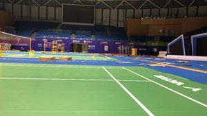 30秒看完中国公开赛羽毛球场地搭建过程